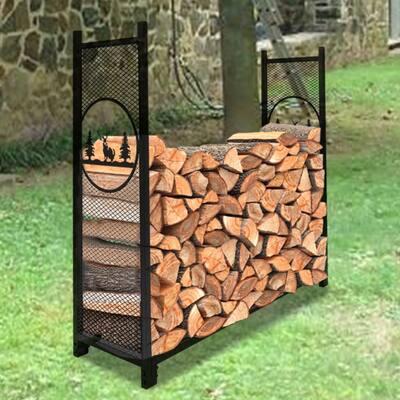 Mesh Firewood Holder With Animal Pattern