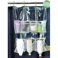 Bath Bliss Shower Curtain Mount Mesh Pocket Shower Caddy With 7 Pockets, Clear, 20x22 - White