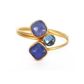 Helene Jewelry Blue Triple Stone Coil Bracelet