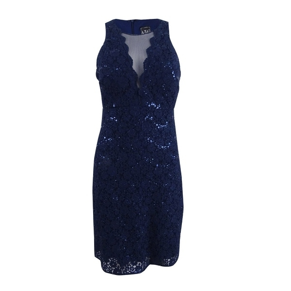 Shop Nightway Women s Sequined Lace Cocktail Dress (10 b59de575c6fc
