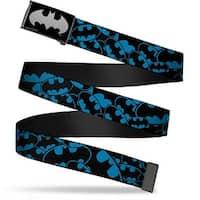 Batman Reverse Brushed Silver Cam Bat Signals Stacked Blue Black Web Belt