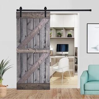 Paneled Wood Barn Door with Installation Hardware Kit - K4 Series