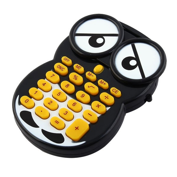 Big Eyes Owl 8 Digits Black White Plastic Calculator