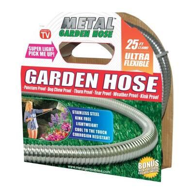 Metal Garden Hose As Seen On TV Stainless Steel Garden Hose - 3.25 x 9.9 x 9.7