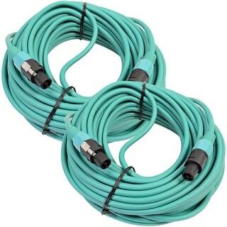 SEISMIC AUDIO Pair of 12 Gauge 100 Foot Green Speakon to Speakon Speaker Cables