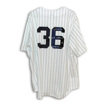 hot sale online b38dd a01e8 Autographed David Cone New York Yankees Pinstripe Majestic Jersey Inscribed