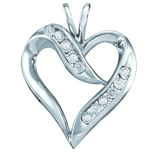 Heart Pendant 10K White-gold With Diamonds 0.02 Ctw By MidwestJewellery - N/A
