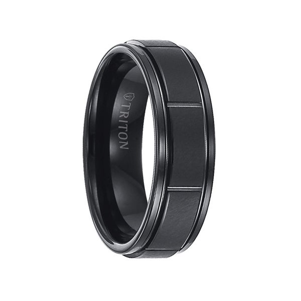 FERRIS Black Tungsten Carbide Ring with Raised Brushed Center and Vertical Cuts by Triton Rings - 7 mm