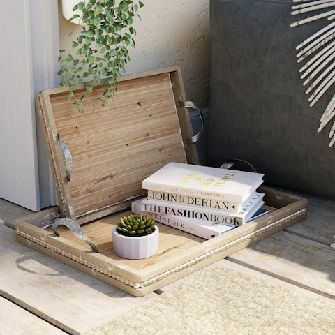 COSIEST 2-Piece Nesting Wooden Serving Trays with Wide Metal Handles