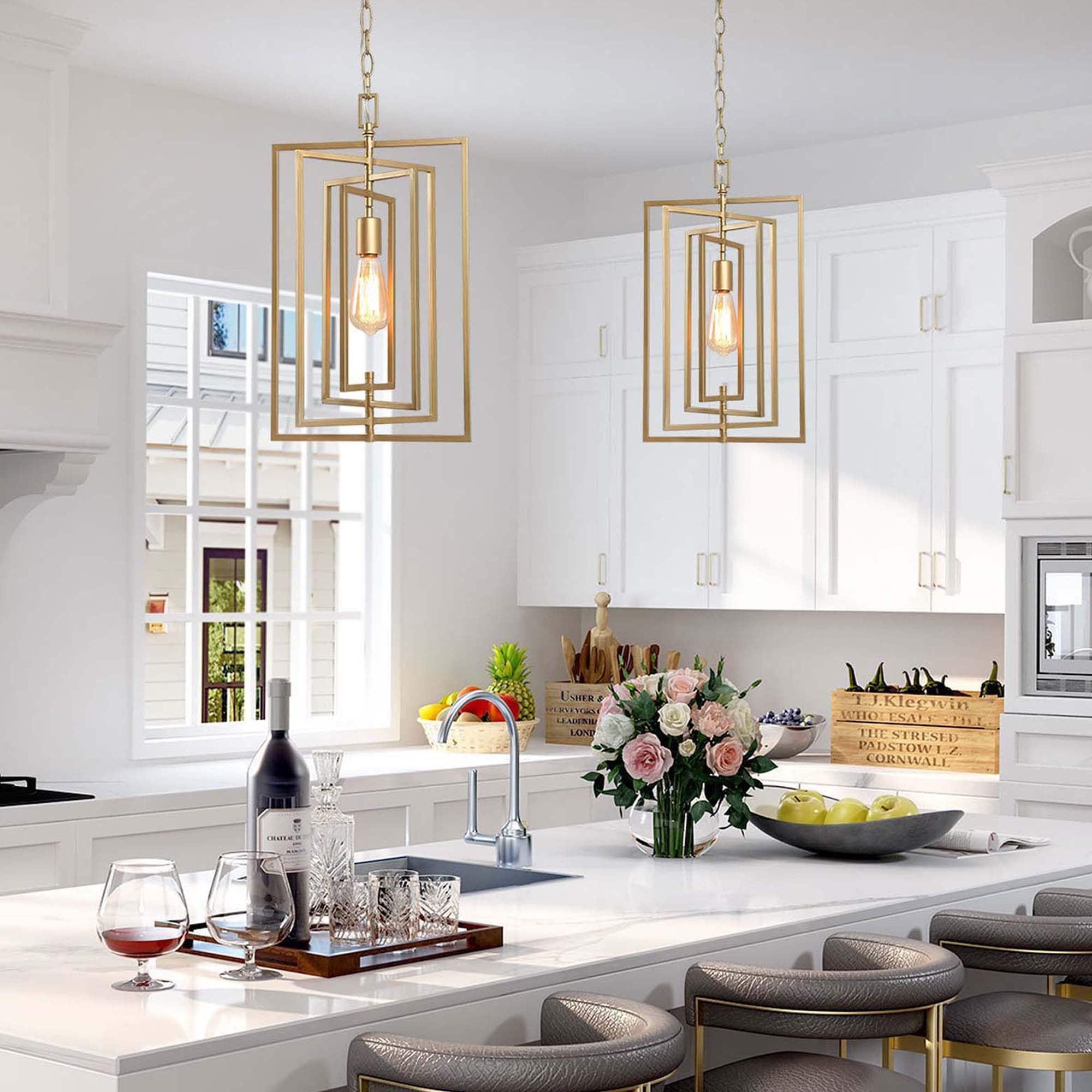 Modern Glam 9 light Gold Rectangle Kitchen Island Pendant Lights for Dining  Room