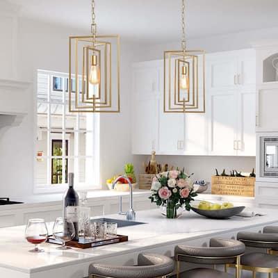 Modern Glam 1-light Gold Kitchen Island Pendant Light