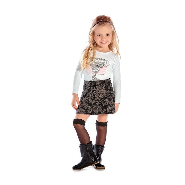 Toddler Girl Outfit Long Sleeve Graphic Shirt and Skirt Set Pulla Bulla 1-3 Year
