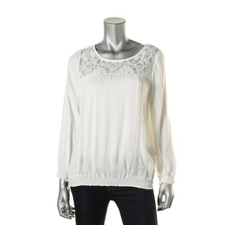 Joie Womens Kulani Lace Trim Long Sleeves Peasant Top