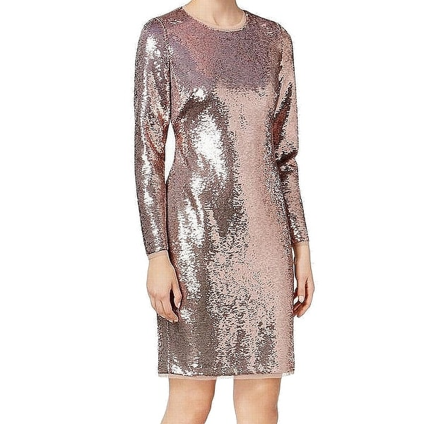 0903158d09095 Shop Calvin Klein Rose Pink Womens Size 4 Sequin Solid Sheath Dress - Free  Shipping On Orders Over $45 - Overstock - 27006337