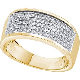 10k Yellow Gold Mens Natural Round Diamond Micropave Wedding Anniversary Band Ring 1/3 Cttw - White