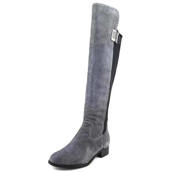 Calvin Klein Cyra Wide Calf Women Round Toe Synthetic Gray Knee High Boot