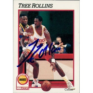 Signed Rollins Tree Houston Rockets 1991 NBA Hoops Basketball Card autographed