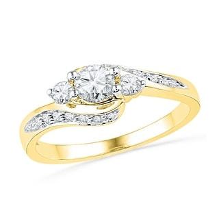 10k Yellow Gold Womens Natural Round Diamond Bridal Wedding Engagement Anniversary Ring 1/2 Cttw