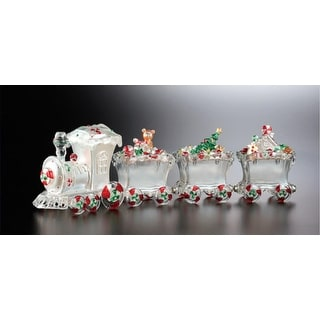 """Pack of 2 Icy Crystal Decorative Christmas Candy Jar Trains 16"""""""