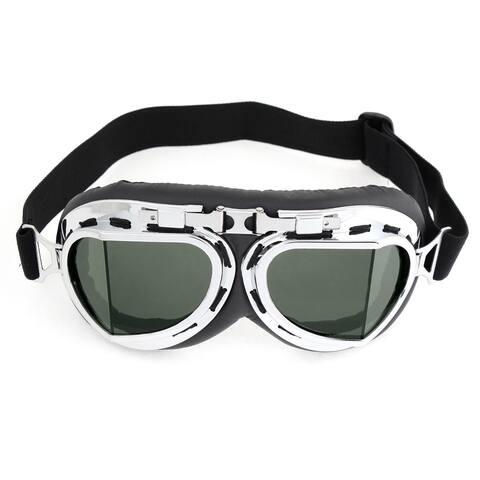Unique Bargains Silver Tone Plastic Rimmed Wide Angle Ski Snowboard Goggles for Men Women