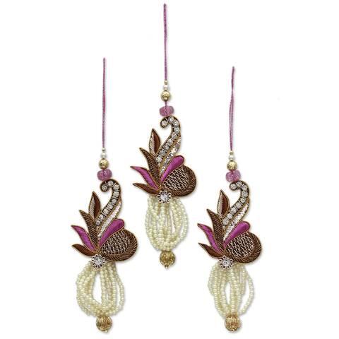 Novica Handmade Kolkata Jewel Beaded Ornaments (Set Of 3)