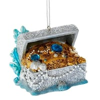 Kurt Adler Under the Sea Treasure Chest with Gems  Holiday Ornament