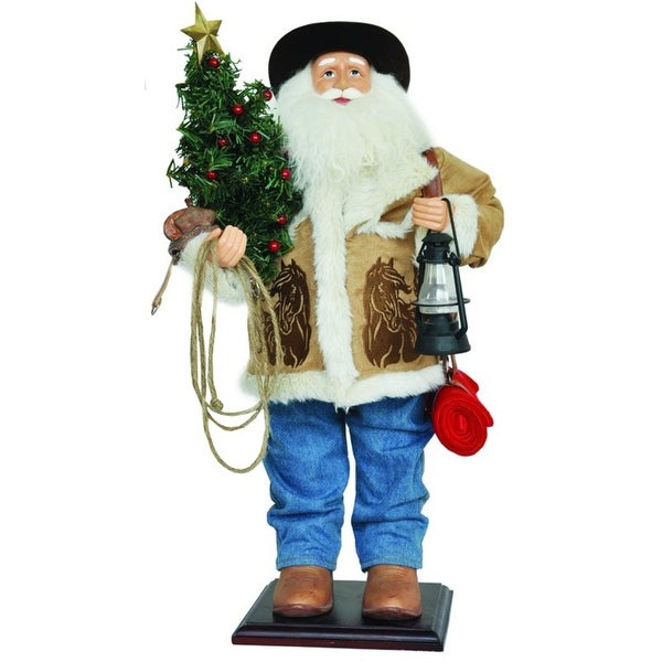 "24"" Home on the Range Country Western Cowboy Santa Claus Christmas Figure - brown"
