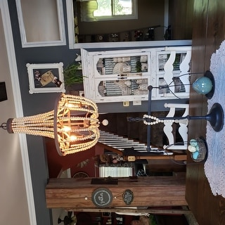 Mindy 3 Light Wood Bead Chandelier - Gold Bronze