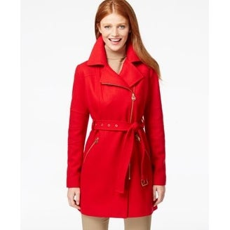 c330538493e3 Shop Michael Kors Petite Asymmetrical-Zip Belted Coat True Red Petite XL -  Free Shipping Today - Overstock - 20399819