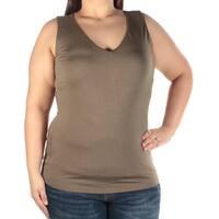 INC Womens Green Sleeveless V Neck Top  Size: XL