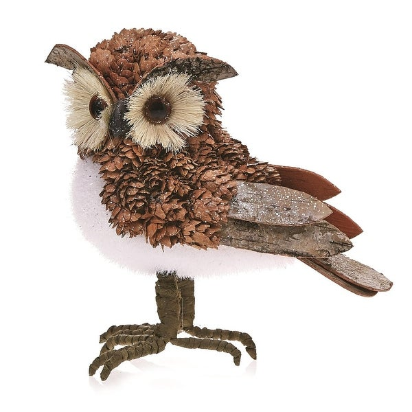 Pack of 2 Country Rustic Oliver the Owl Bark and Pine Cone Christmas Table Top Decorations 7.5""