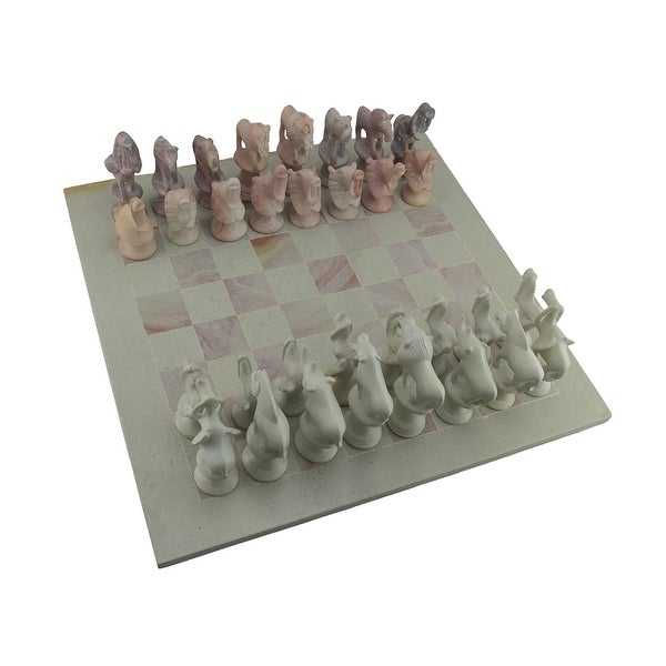 Shop Hand Carved Soapstone African Animals Chess Set With 16