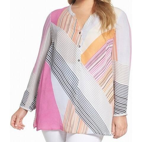 Nic+Zoe Womens Blouse Pink Size 3X Plus Long Sleeve Button Detail