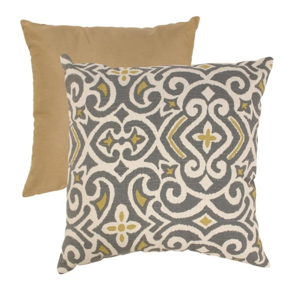 """18"""" Graphite & Chartreuse Damask Pattern Square Throw Pillow"""