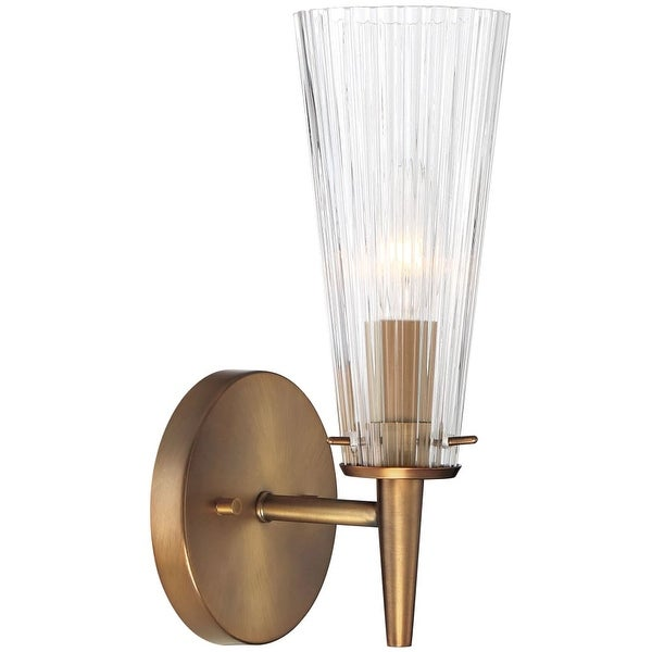 """Designers Fountain 88901-OSB Montelena 1-Light 4"""" Wide Wall Sconce with Clear Ribbed Glass - old satin brass - n/a"""