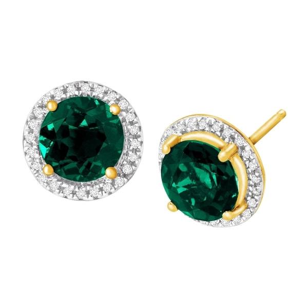 2 5/8 ct Created Emerald & 1/10 ct Diamond Stud Earrings in 14K Gold - Green