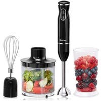 Costway 4-in-1 Immersion Hand Blender Set 2 Speed w/ Food Chopper Egg Whisk and Beaker - Black