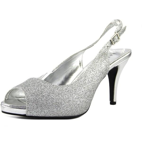 Rampage Fasher Women Peep-Toe Canvas Slingback Heel