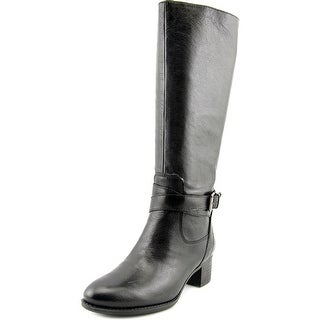 Nine West Vani Women Round Toe Leather Black Knee High Boot