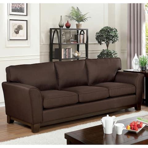 Furniture of America Juma Brown Chenille Cushioned Sofa