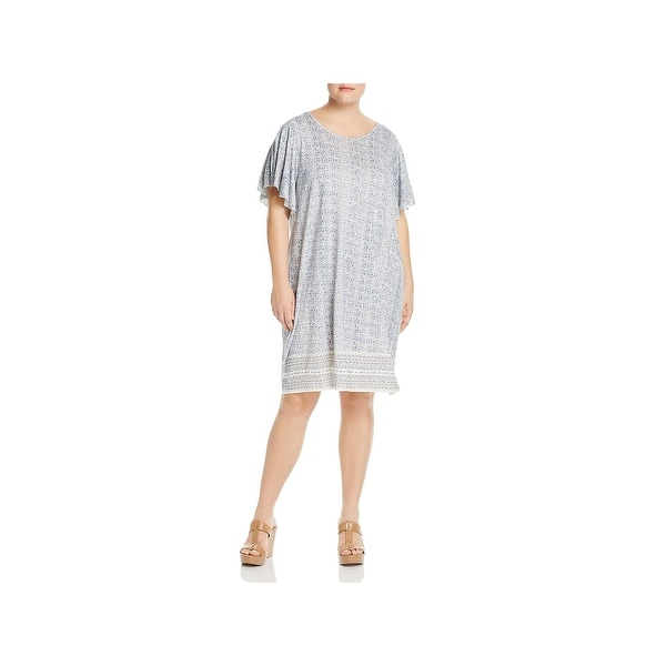 Lucky Brand Womens Plus T-Shirt Dress Ruffle Sleeves Printed