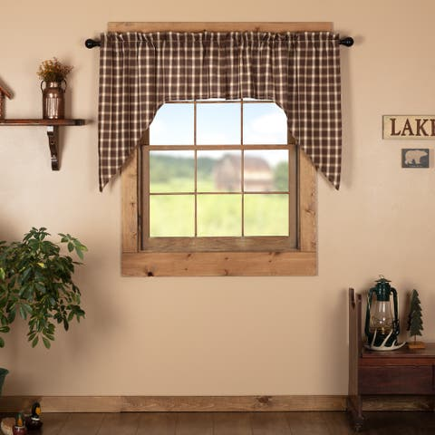 Brown Rustic Kitchen Curtains Rory Swag Pair Rod Pocket Cotton Plaid - Swag 36x36x16