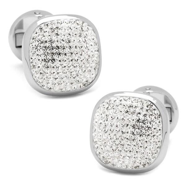 White Pave Crystal Cufflinks