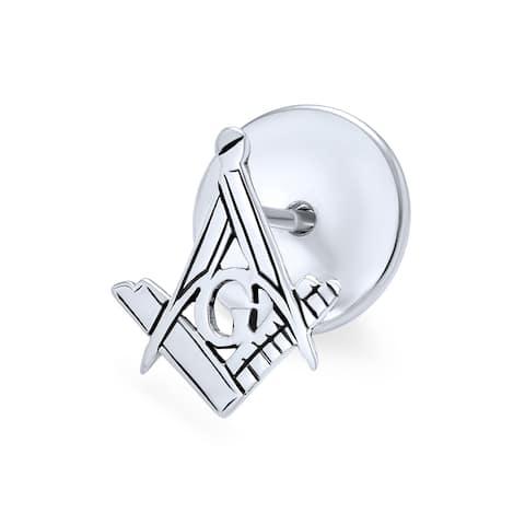 Freemasons Masonic Compass Lapel Pin Apprentice Square Sterling Silver