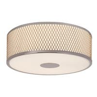 Trans Globe Lighting 10141 3-Light Round Flush Mount Ceiling Fixture with Frosted Shade and Diamond Frame - Polished chrome