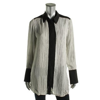 Vince Womens Button Up Printed Tunic Top - M