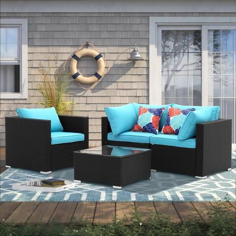 Zenova PE Rattan Wicker Modular Patio Sofa Set with Pillows