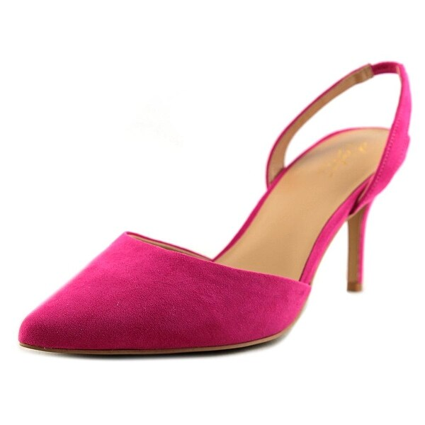 Thalia Sodi Lola Women Pointed Toe Suede Pink Slingback Heel