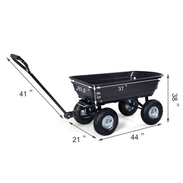 Costway 660lb Garden Dump Cart Dumper Wagon Carrier