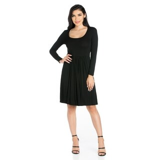 24seven Comfort Apparel Casual Long Sleeve Pleated Dress